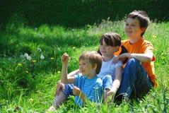 Tre bambini in un prato immagine stock libera da diritti
