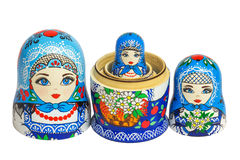 Tre bambole russe tradizionali di matryoshka Immagine Stock Libera da Diritti
