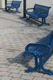 Tre banchi blu Fotografia Stock Libera da Diritti