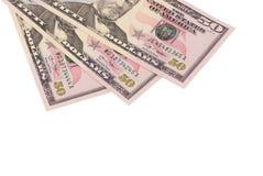 Tre banconote di 50 dollari isolate su fondo bianco Immagini Stock