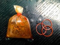 Tre banda di plastica, salsa delle borse Fotografia Stock