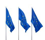 Tre bandiere dell'europeo Fotografia Stock