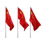 Tre bandiere della Cina Fotografia Stock Libera da Diritti