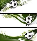 Tre bandiere di gioco del calcio Fotografie Stock