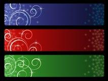Tre bandiere di vettore di natale Fotografia Stock