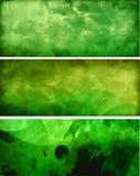 Tre bandiere verdi Immagini Stock Libere da Diritti