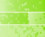 Tre bandiere verdi di Web del abstact Fotografia Stock Libera da Diritti