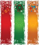 Tre bandiere verticali di natale Fotografie Stock