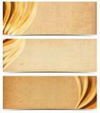 Tre baner med gammalt gulnat papper Royaltyfri Bild