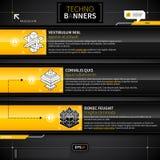 Tre baner med olika alternativ i technostil Arkivbild