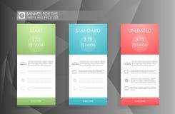 Tre baner med tariffplan Jämförelse av prissättningtabelluppsättningen för affären, kullista med kommersiellt plan Mall för pric stock illustrationer