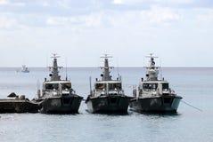 Tre barche della pattuglia di frontiera Fotografia Stock Libera da Diritti