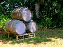 Tre barilotti di vino Fotografia Stock