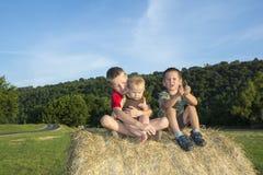 Tre barn på rullen av hö i ängen Royaltyfri Fotografi
