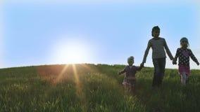 Tre barn som går på en grön äng i de ljusa strålarna av solen lager videofilmer