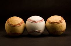 Tre baseball Royaltyfri Fotografi