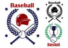 Tre baseballemblem eller emblem Arkivfoto