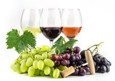 Tre bicchieri di vino con bianco, la rosa ed il vino rosso Immagini Stock