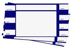 Tre biglietti blu con il percorso di residuo della potatura meccanica Fotografia Stock Libera da Diritti