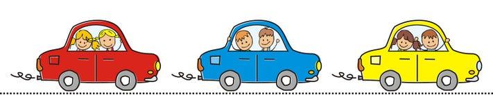 Tre bilar och barn Arkivfoton