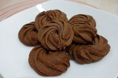 Tre biscotti del cioccolato Fotografie Stock