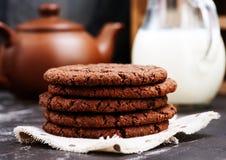 Tre biscotti del cioccolato Fotografie Stock Libere da Diritti