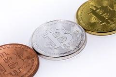Tre bitcoins Immagini Stock Libere da Diritti