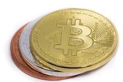 Tre bitcoins Fotografia Stock Libera da Diritti
