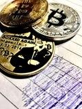 Tre bitcoins Arkivfoton