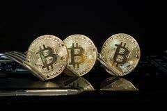 Tre bitcoins dorati con le forcelle Fotografie Stock Libere da Diritti
