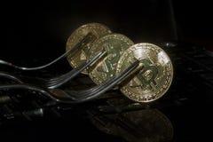 Tre bitcoins dorati con le forcelle Concetto di Cryptocurrency Fotografie Stock Libere da Diritti