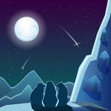 Tre björnar under månen Arkivfoto