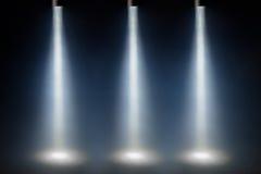 Tre blåa fläckljus Fotografering för Bildbyråer