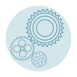 Tre blåa kugghjul på ett ljust - blå bakgrund Vitrundaram vektor illustrationer