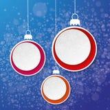 Tre blått för etikett för papper för julstruntsaksnöflinga  Arkivbilder
