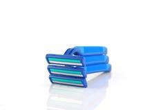 Tre blåttrakknivar Arkivfoto