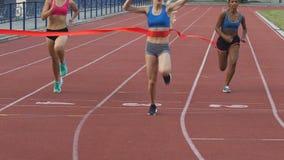 Tre blandras- deltagare av spring springer korsa den fulländande linjen, långsam-mo lager videofilmer