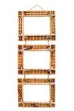 Tre blocchi per grafici di bambù della foto isolati su bianco Fotografie Stock