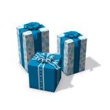 Tre blu e regali di Natale bianchi Fotografia Stock