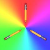 Tre blyertspennor Royaltyfria Bilder