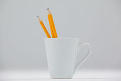 Tre blyertspennor som hålls i kopp Royaltyfri Fotografi