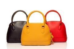 Tre borse su bianco Fotografia Stock