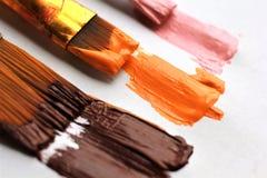 Tre borstar av olikt format som lämnar akrylmålarfärg att bryna orange rosa färgslaglängder Arkivbilder