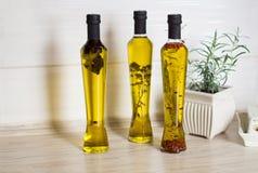 Tre bottes di olio d'oliva con gli spieces Fotografia Stock Libera da Diritti