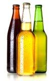 Tre bottiglie da birra fotografie stock