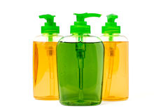 Tre bottiglie dell'erogatore del sapone liquido Fotografia Stock Libera da Diritti