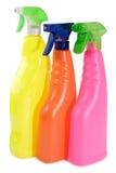 Tre bottiglie dello spruzzo Fotografia Stock Libera da Diritti