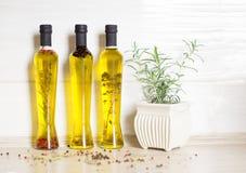 Tre bottiglie di olio d'oliva con le spezie Fotografie Stock Libere da Diritti