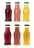 Tre bottiglie di spremuta Fotografia Stock