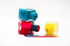 Tre bottiglie di vernice Fotografie Stock Libere da Diritti